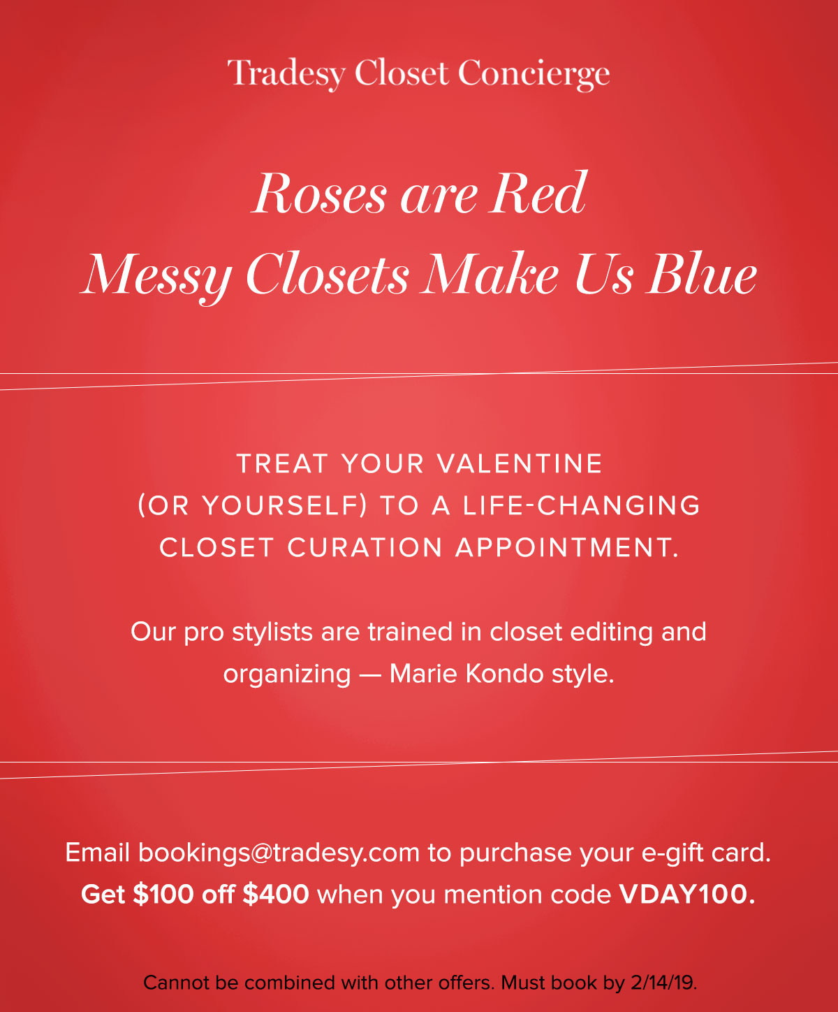 e30123a2bcc Our gift card prices start at $300 for a 2-hour styling session and $400  for a Closet Curation Appointment. Both now $100 off if you book before  Valentine??